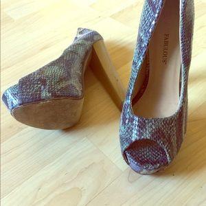 """Faux 6"""" snake skin heels"""